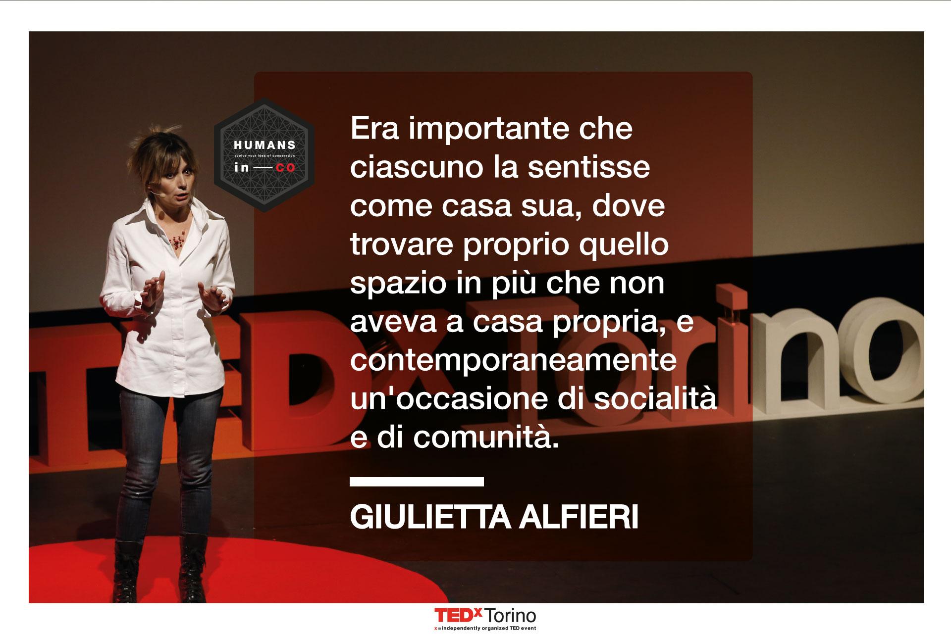 Giulietta Alfieri parla della Casa del Quartiere a Humans in CO, evento firmato TEDxTorino
