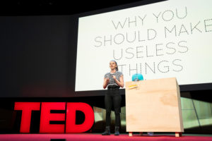 "TED ""The true beauty of making useless things,"" according to Simone Giertz, is"