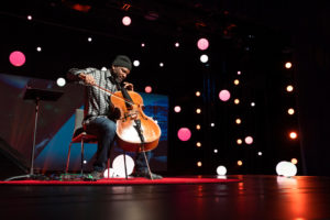 Visual artist, musician, collector and thinker Paul Rucker shows off one of his talents as he opens TED Fellows Session 2 at TED2018: The Age of Amazement, April 10, 2018, in Vancouver. Photo: Ryan Lash/TED